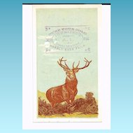 "1880s Patent Medicine Victorian Advertising Trade Card - Emory's Little Cathartic Pills - Townsend's A-1 Cough Mixture – Edward Landseer ""Monarch of the Glen"" Standing Stag Deer – Hartford Insurance Company Logo"