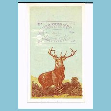 "1880s Patent Medicine Victorian Advertising Trade Card - Emory's Little Cathartic Pills - Townsend's A-1 Cough Mixture – Hartford Insurance Company Standing Stag Deer Logo - Edward Landseer ""Monarch of the Glen"""