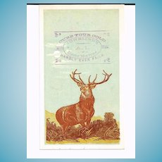 """1880s Patent Medicine Victorian Advertising Trade Card - Emory's Little Cathartic Pills - Townsend's A-1 Cough Mixture – Hartford Insurance Company Standing Stag Deer Logo - Edward Landseer """"Monarch of the Glen"""""""