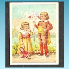 "1880s J. C. Davis' Old Soap Victorian Advertising Trade Card – J.C. Davis & Sons, Boston MA  -  Original ""Smiley Face"" Kite and Doll - 18th C Children"
