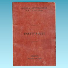 1939 Boston & Albany Railroad - New York Central Railroad, Lessee - Operating Department Employee Booklet - Train Safety Rules