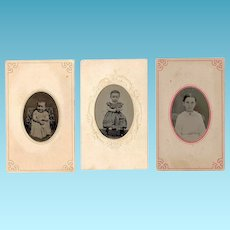 c1860s Girl Child Hand-Tinted Tintype Portraits (3) - Perhaps The Same Girl at Different Ages