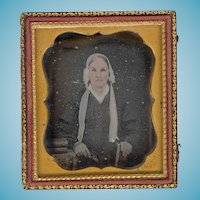 1850s Vintage Hand-tinted Daguerreotype - Elderly Woman in White Bonnet - Floral Design Leather Covered Case
