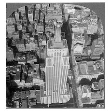 1930s Empire State Building New York City Real Photo Stereo View – Manhattan Art Deco Landmark Tallest Building - Dirigible Airship Mooring Mast / King Kong Perch - Keystone View