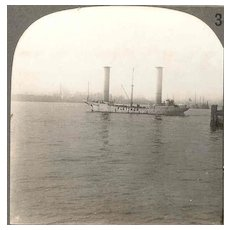 1926 New York City Harbor Stereo View - Flettner Rotor Ship Baden Baden at Anchor in New York Harbor - Statue of Liberty - Jersey City – Real Photo View