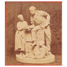 c1868 Real Photo Stereoview - 1866 John Rogers' African American Family Sculpture - Uncle Ned's School - Early Square Image Stereo View
