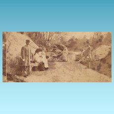 1860s New York City Central Park Real Photo Stereo View - American Civil War Era Union Soldiers Uniforms - Women & Baby Children Close-up - RARE Stereo Photography Timing Example - South Paris Maine Advertising - American Scenery View