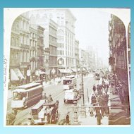1894 New York City Manhattan SoHo Section Real Photo Stereo View - Lower Broadway and Prince Street - North From the Metropolitan Hotel - Trolleys and Horse Drawn Vehicles