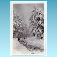 1930s Los Angeles, California San Antonio Canyon RPPC Real Photo Postcard - Mount Baldy - San Antonio Canyon Highway Winter Sports Scene - Ice House Canyon Resort - San Bernardino County - Unused