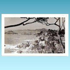 1930s Monterey Bay, California Real Photo Postcard – Monterey Bay Coastline – Spanish-Style Hacienda – Unused