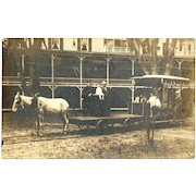 c1910 Street Railway Real Photo Vintage Postcard -  Mule-Drawn Tandem Freight and Passenger Street Trolley Cars with Passengers - RARE Deep South United States Town View