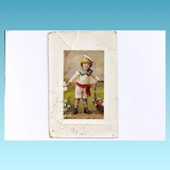 1910 Vintage Blonde-Blue Eyed Boy Child Postcard - Austrian Navy Sailor Boy Suit - Emperor Franz Joseph Stamps - Austria Postmarks - Color Lithograph Photo with Glossy Gelatin Finish - Greenpoint, Brooklyn NY Address