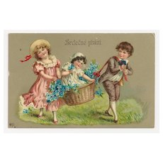 c1910 Victorian CHILDREN Vintage Postcard - CZECH-BOHEMIAN Slavic Language Greeting -  GERMAN-MADE High-Gloss Gelatin Coated Finish Chromolithograph - Unused