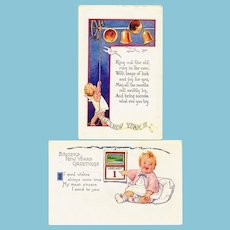 Two (2) c1925 New Years Baby Vintage Greeting Postcards - Embossed - Rhyming Couplet Poems