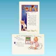c1925 New Years Baby Greeting Vintage Postcards - Embossed - Rhyming Couplet Poems