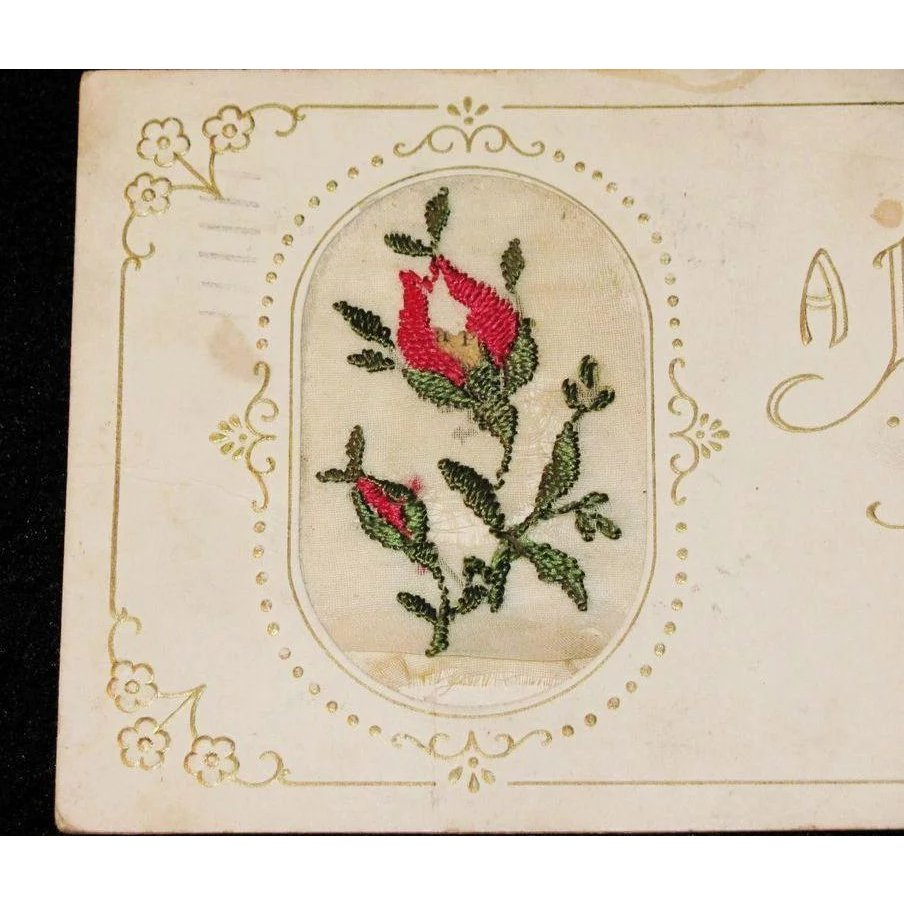 Embroidered red rose bud easter greeting vintage