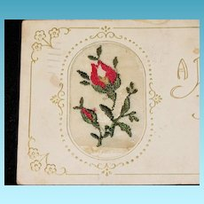 1918 Embroidered Red Rose Bud Easter Greeting Vintage Postcard - Brooklyn New York Postmark - Norwich Connecticut Address – Polish Language Message