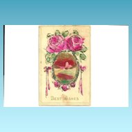 c1905 Pink ROSES German-Made Vintage Postcard - Hand-Colored Coraline Glass Beading Applique' Trim - Heavily Embossed Bas Relief - Rural Village Landscape