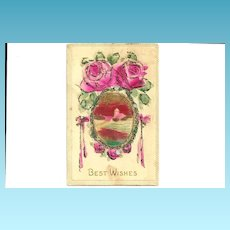 c1905 Pink ROSES German-Made Vintage Postcard - Hand-Colored Coraline Glass Bead Applique' Trim - Heavily Embossed Bas Relief - Rural Village Landscape
