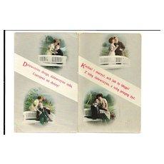2 c1910 Polish Language Love Poetry Romantic Courting Vintage Postcards - Hi-Gloss Gelatin Coated Finish - Made in Austria - Unused