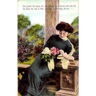 1910 Romantic Woman Glossy Lacquer Vintage Postcard – Auburn-Haired Girl with Bouquet of Roses - Rhyming Couplet Love Poem - Theodor Eismann, Leipzig Publisher's Comet Logo - German-Made