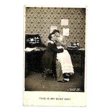 1907 Comic Romantic Office Humor RPPC Real Photo Postcard - Business Boss and Secretary-Typist - Vintage Early Office Typewriter - Syosett New York Postmark