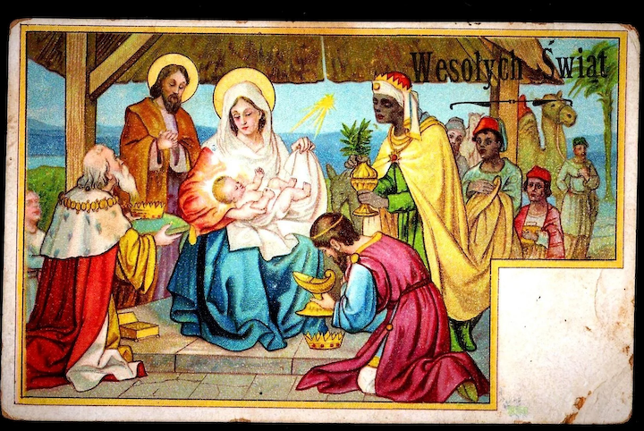 Christmas Nativity.C1910 Religious Christmas Nativity Vintage Postcard Baby Jesus Magi Bearing Gifts Holy Family Virgin Mary Joseph Polish Greeting And Message