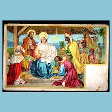c1910 Religious Christmas Nativity Vintage Postcard - Baby Jesus - Magi Bearing Gifts - Holy Family Virgin Mary & Joseph - Polish Greeting and Message
