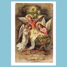 c1910 Religious Christmas Nativity Vintage Postcard - Baby Jesus in Manger - Child-Like Angels - Polish Greeting - German-Made - Gelatin-Coated Glossy Finish