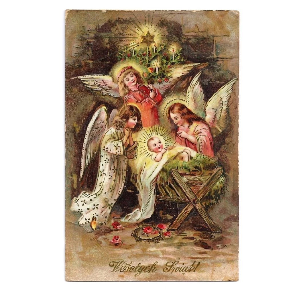 Religious Christmas Images.C1910 Religious Christmas Nativity Vintage Postcard Baby Jesus In Manger Child Like Angels Polish Greeting German Made Gelatin Coated Glossy