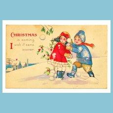 Vintage c1925 Christmas Greeting Postcard – Cartoon Children - Winter Snow Scene - Snowballs
