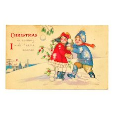 Vintage c1925 Christmas Greeting Postcard – Cartoon Children - Winter Snow Scene - Snowballs