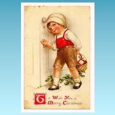 c1929 Christmas Greeting American Made Vintage Postcard – Leather-Clad Girl Child Delivering Basket of Gifts - Norwich CT / Preston Station December 23rd Postmark - Wolf & Co., US Publisher