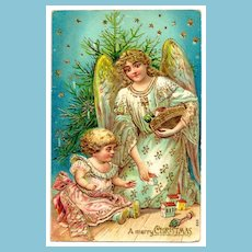 c1907 Christmas Angel, Tree, Toys and Child Vintage Postcard - Heavily Embossed with Bright Gold Accents, Trim & Lettering - Matte Finish