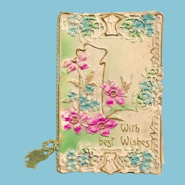 c1910 NEW YEARS Vintage Greeting Card - Hand-Colored Silk-Screened - Heavily Embossed Bas Relief - Paper Lace Trim - Unused