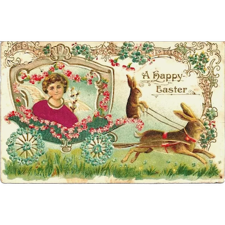 c1908  Vintage Easter Greeting Postcard – European Hare-Style Easter Rabbit-Bunny and Winged Angel – Made in Austria