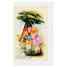 c1920 Easter Greeting Postcard with Children -  Boy & Girl with Easter Eggs in Blue Hat - Embossed Pastel-Colored Art Decco Chromolithograph - Whitney Valentine Co., Publisher