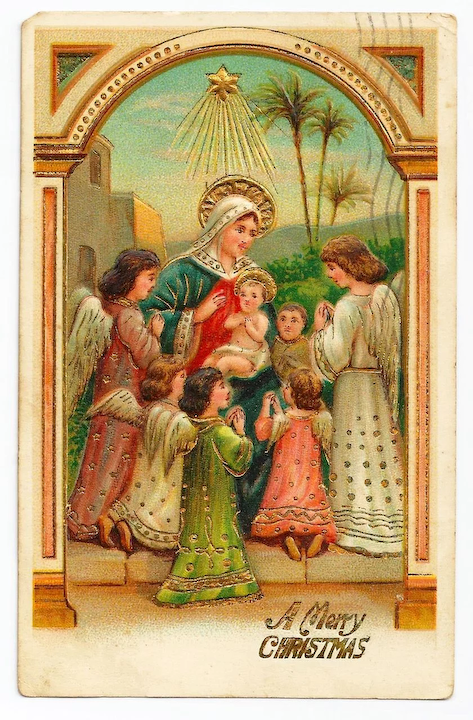 Christmas Nativity.C1910 Religious Christmas Nativity Postcard Baby Jesus Virgin Mary Surrounded By Child Like Angels German Made Heavily Embossed Pastel Colors
