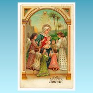 c1910 Religious Christmas Nativity Postcard - Baby Jesus - Virgin Mary Surrounded by Child-Like Angels - German-Made - Heavily Embossed Pastel Colors - Gold Gilt Accents - Polish Message