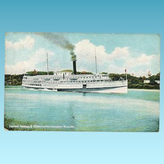 "c1908 Kennebec River MAINE New England Yankee Coastal Steamship ""SS Ransom B. Fuller""  Postcard - World War I NEW LONDON CT Barracks Ship  - Hugh C. Leighton Co., Publisher - German-Made"
