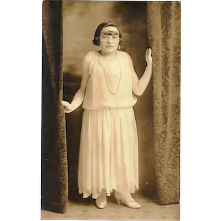 """c1915 Manhattan, New York City Photographic Studio Portrait RPPC Real Photo Postcard - Young """"Little"""" Woman - Vintage Women's Fashion:  White Confirmation Dress / Wedding Gown - White High-Heeled Shoes - Headband - Pearl Necklace -Victoria Photo Shop"""