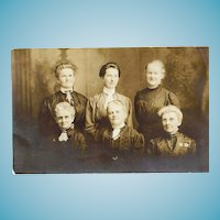 c1910 Women's Group Photograph Studio Portrait RPPC Real Photo Postcard - Early 20th Century Style Fashion Dress