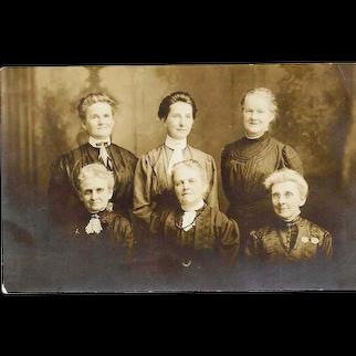 c1910 Women's Group Photograph Studio Portrait RPPC Real Photo Postcard - Early 20th Century Style Fashion Dress