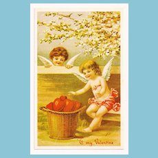 Vintage Mid 1930s Depression Era Valentine Postcard – Blonde and Red-headed Cupids – Un-posted Message