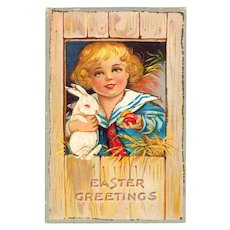 c1910 Vintage Easter Greeting Postcard - Easter Rabbitt Bunny and Egg - Boy in Sailor Suit - Glitter Border - Janesville Wisconsin Address - No Postmark