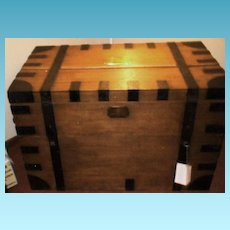 Vintage Antique Sea Captain's Chest in Iron-Bound Oak - Very Large (Circa 1850-1900)