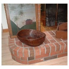 Antique Hand Carved Wooden Laundry Washing Bowl - Carved Washboard Ridges (Late 18th - Early19th Century)