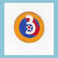 World War Two-II-2 Army Air Force Uniform Shoulder Sleeve Patch Insignia - 3rd Air Force - Guaranteed Vintage