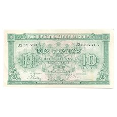 World War II Wartime Belgium Paper Currency in Almost Un-circulated (AU) Condition - 1943 Belgian 10-Franc Banknote – London-Based Government-in-Exile Issued Money