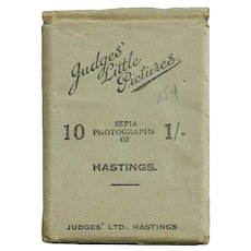 "1940s Hastings, England Souvenir Real Photos - ""Judges' Little Pictures"" World War Era Great Britain Tourist Photo Views - Ten Vintage Miniature Sepia-Toned Photographs"